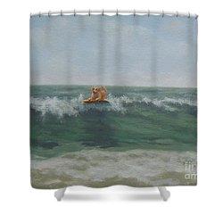 Surfing Golden Shower Curtain