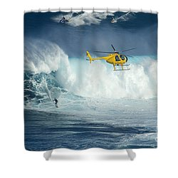 Surfing Jaws 6 Shower Curtain by Bob Christopher
