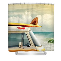 Surfing Way Of Life Shower Curtain by Carlos Caetano