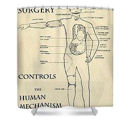 Surgery Controls The Human Mechanism   1906 Shower Curtain by Daniel Hagerman