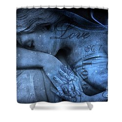 Surreal Blue Sad Mourning Weeping Angel Lost Love - Starry Blue Angel Weeping With Love Script Shower Curtain by Kathy Fornal