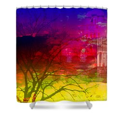Shower Curtain featuring the digital art Surreal Buildings  by Cathy Anderson