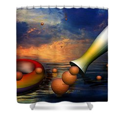 Surreal Dinner Served Over The Ocean Shower Curtain by Angela A Stanton