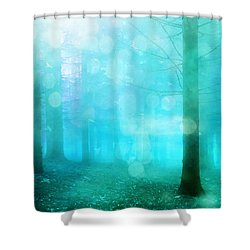 Surreal Dreamy Fantasy Bokeh Aqua Teal Turquoise Woodlands Trees  Shower Curtain by Kathy Fornal