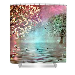 Fairytale Fantasy Trees Surreal Dreamy Twinkling Sparkling Fantasy Nature Trees Home Decor Shower Curtain