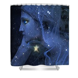 Surreal Fantasy Celestial Blue Angelic Face With Stars Shower Curtain by Kathy Fornal