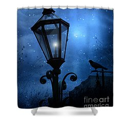 Surreal Fantasy Gothic Blue Night Lantern With Ravens - Starry Night Surreal Lantern Blue Moon Shower Curtain by Kathy Fornal