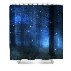 Surreal Fantasy Haunting Blue Sparkling Woodlands Forest Trees With Stars - Starlit Fantasy Nature Shower Curtain by Kathy Fornal