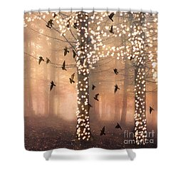 Surreal Fantasy Nature Trees Woodlands Forest Sparkling Lights Birds And Trees Nature Landscape Shower Curtain by Kathy Fornal