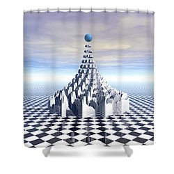Surreal Fractal Tower Shower Curtain by Phil Perkins