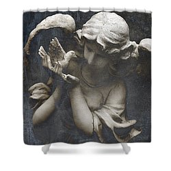 Ethereal Guardian Angel With Dove Of Peace Shower Curtain by Kathy Fornal
