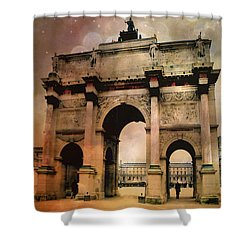 Louvre Museum Arc De Triomphe Louvre Arch Courtyard Sepia- Louvre Museum Arc Monument Shower Curtain by Kathy Fornal