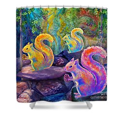 Surreal Squirrels In Square Shower Curtain