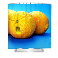 Surrender Mr. Oranges Little People On Food Shower Curtain by Paul Ge