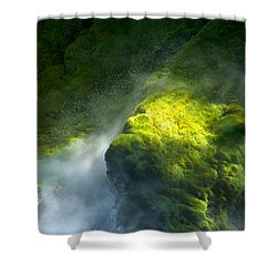 Surrounded By Mist   Vertical Shower Curtain by Mary Lee Dereske