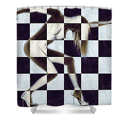 Survive Nude Woman Checkered 2 Shower Curtain by Tony Rubino