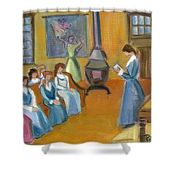 Shower Curtain featuring the painting Susan B. Anthony Teaching In Canajoharie by Betty Pieper