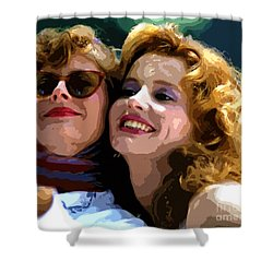 Susan Sarandon And Geena Davies Alias Thelma And Louis - Watercolor Shower Curtain by Doc Braham