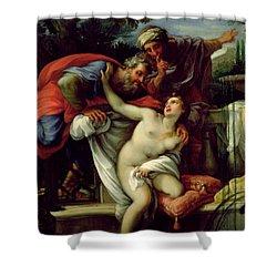Susanna And The Elders Shower Curtain by Giuseppe Bartolomeo Chiari