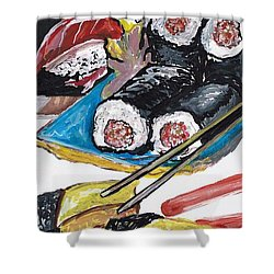 Sushi Bar Painting Shower Curtain by Ecinja Art Works