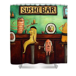 Sushi Bar Improved Image Shower Curtain by Leah Saulnier The Painting Maniac