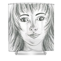 Shower Curtain featuring the drawing Portrait Stunning by Teresa White