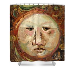 Suspicious Moonface Shower Curtain