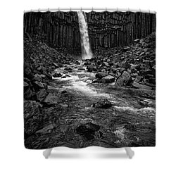 Svartifoss Waterfall In Black And White Shower Curtain