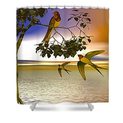 Shower Curtain featuring the digital art Swallows At Sunset by Sandra Bauser Digital Art