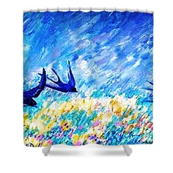 Swallows In Summer Shower Curtain by Trudi Doyle