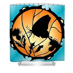 Swallowtail Butterfly Stained Glass Shower Curtain