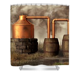 Swamp Moonshine Still Shower Curtain
