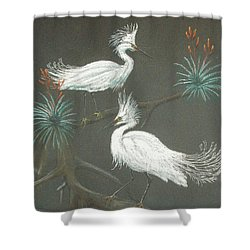 Shower Curtain featuring the pastel Swampbirds by Terry Frederick