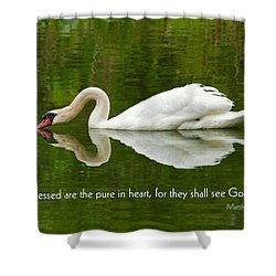 Swan Heart Bible Verse Greeting Card Original Fine Art Photograph Print As A Gift Shower Curtain