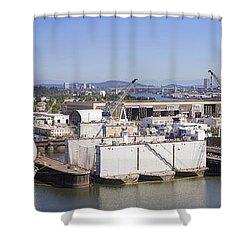 Swan Island Shipyard Panorama Shower Curtain