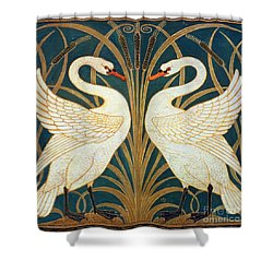 Swan Rush And Iris Shower Curtain by Walter Crane