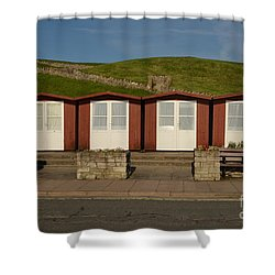 Swanage Beach Huts Shower Curtain by Linsey Williams