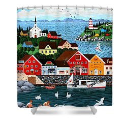 Swan's Cove Shower Curtain by Wilfrido Limvalencia
