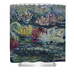 Shower Curtain featuring the painting Swans In Lilies  by Avonelle Kelsey