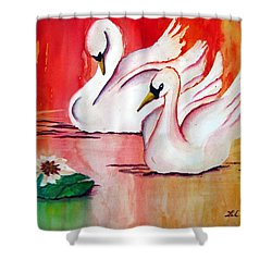 Swans In Love Shower Curtain by Lil Taylor