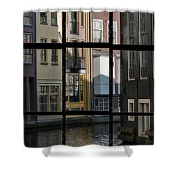 Swans Love Amsterdam Shower Curtain by Joan Carroll