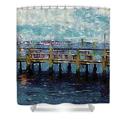 Swansboro Dock 1 Shower Curtain by Lanjee Chee