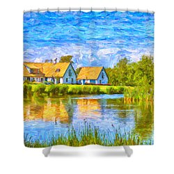 Swedish Lakehouse Shower Curtain by Antony McAulay