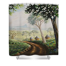 Shower Curtain featuring the painting Sweet Home by Anthony Mwangi