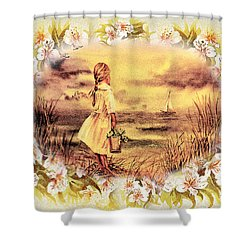 Shower Curtain featuring the painting Sweet Memories A Trip To The Shore by Irina Sztukowski