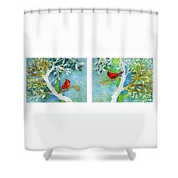 Sweet Memories Diptych Shower Curtain by Hailey E Herrera