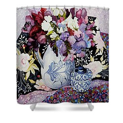 Sweet Peas In A Blue And White Jug With Blue And White Pot And Textiles  Shower Curtain by Joan Thewsey