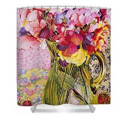 Sweet Peas With Cherries And Strawberries Shower Curtain by Joan Thewsey