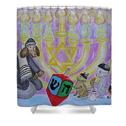 Sweet Shalom Shower Curtain by Diane Pape