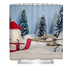 Sweet Sleigh Ride Shower Curtain by Heather Applegate